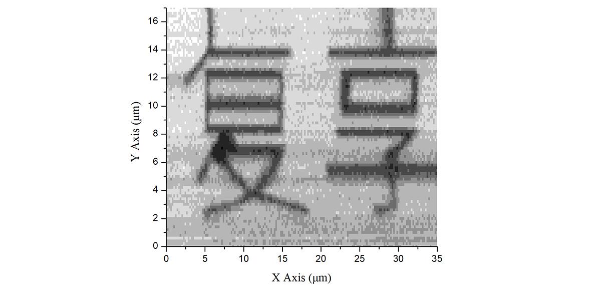 样品信息:在硅基底上用金颗粒排布成字