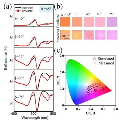 微腔纳米天线反射率(理论值和测试值)、颜色图、色品图