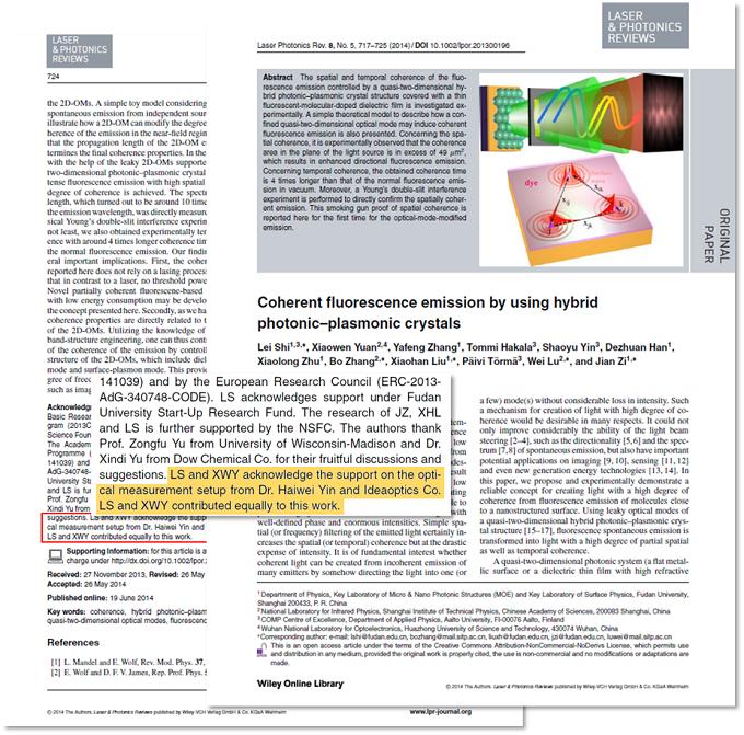文章中作者对复享光学(ideaoptics)参与实验设计与角分辨光谱系统搭建工作的致谢