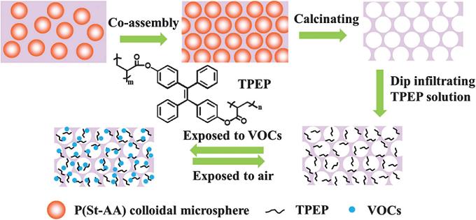 TPEP-SiO2 反结构光子晶体的制备以及吸附-解吸过程示意图