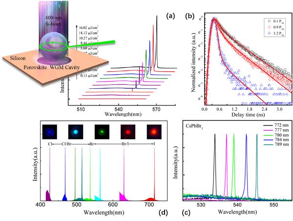 微球的光致发光光谱、时间相关荧光寿命光谱、不同直径及组分时的发射谱
