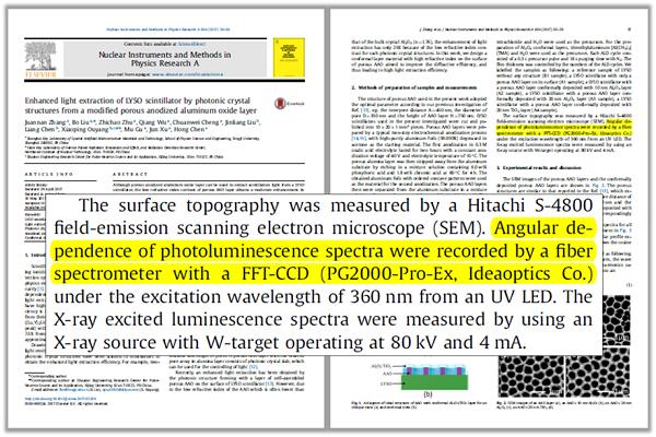 文章对复享光学角分辨光谱测量系统相关产品的标注